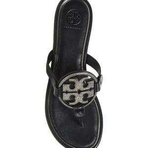 Tory Burch Shoes - NEW TORY BURCH 7 MILLER BLACK CRYSTAL FLIP FLOPS